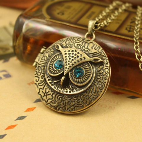 Cute Owl Locket Pendant Necklace