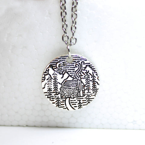 Lovely Pine Tree Cabin Scene With The Moon And The Mountains Necklace