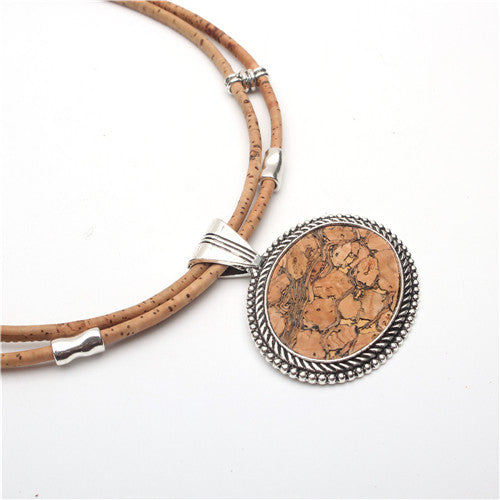 Handmade Oval Natural Cork Necklace