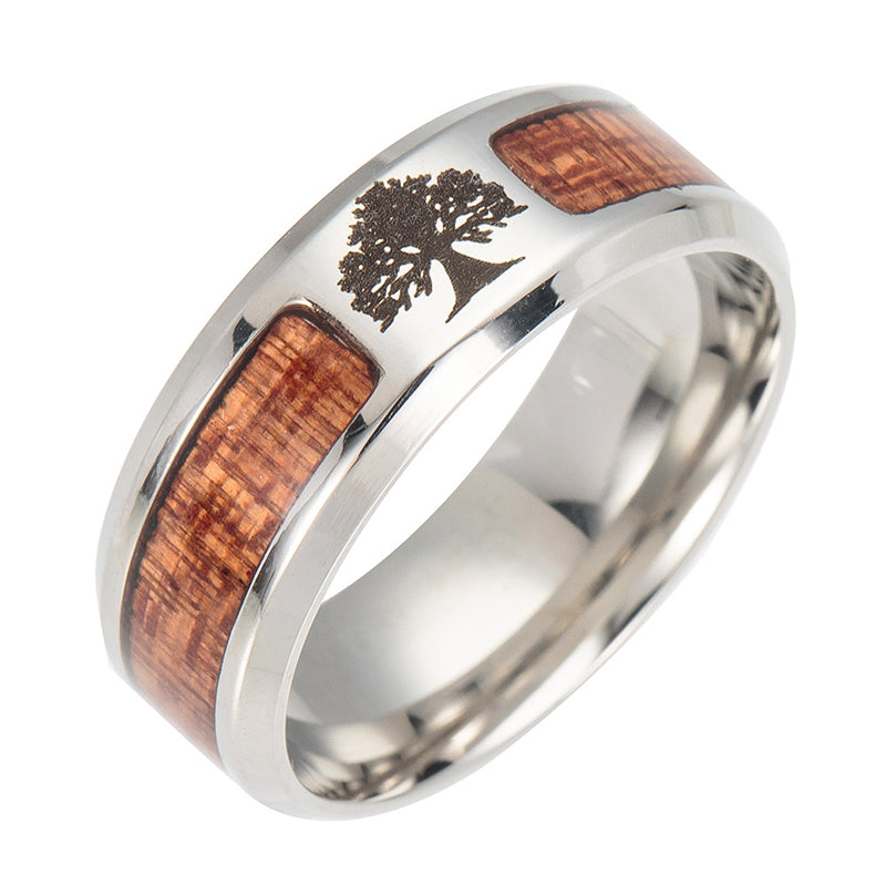Tree of Life Stainless Steel Wood Inlay Ring