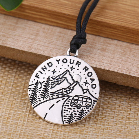 Find Your Road Pendant Necklace