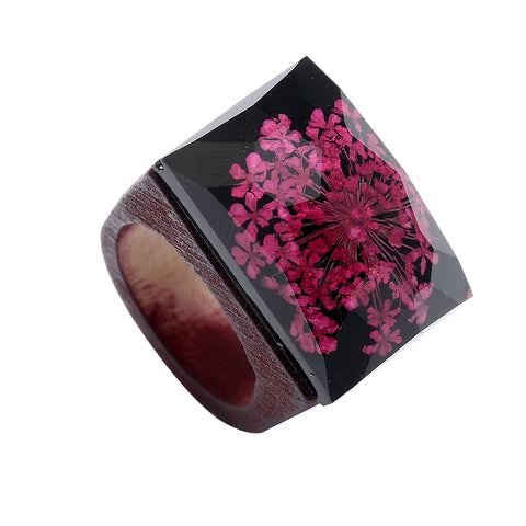 Beautiful Handmade Flower Wooden Rings