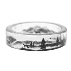 Handmade Transparent Deer and Tree Ring