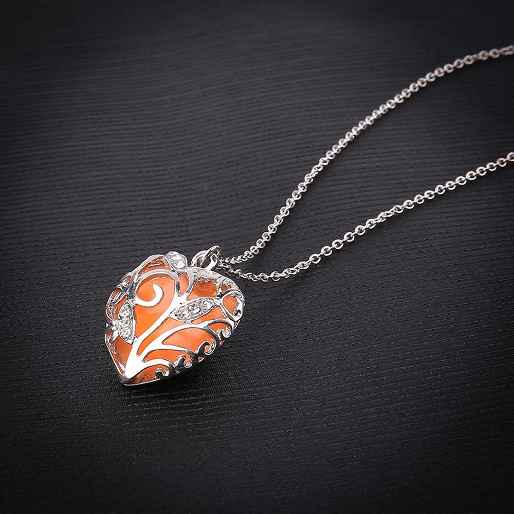 Heart Glow In The Dark Pendant Necklace