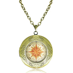 Vintage Compass Locket Necklace