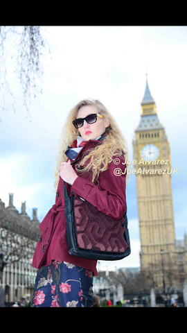 London street style photoshoot for Vogue with Phomaz handbags