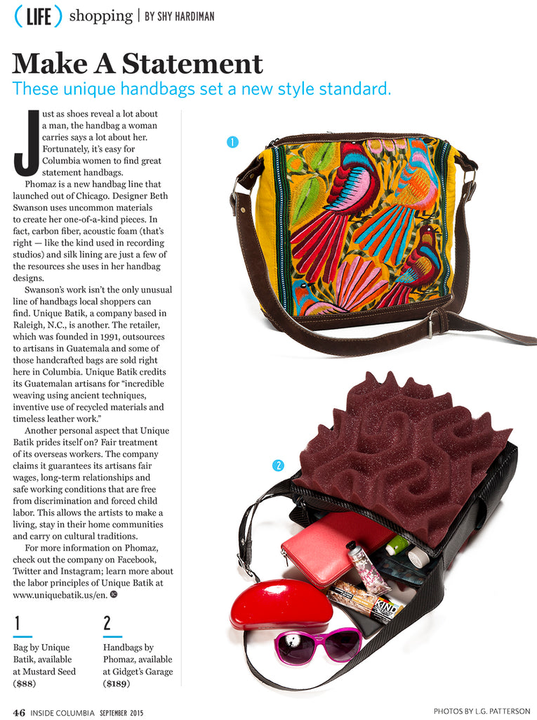 Inside Columbia Magazine article features Phomaz fashion handbags