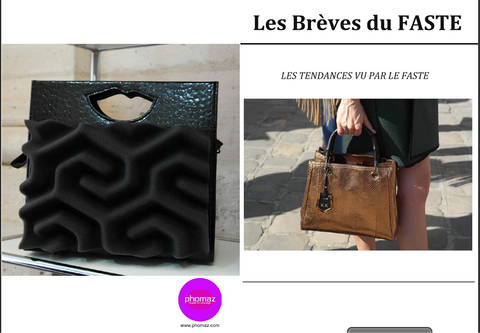 Le Faste Magazine features Phomaz fashion handbags