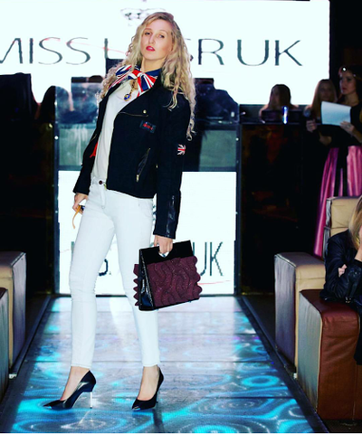 Ikon London Apparel Runway Show- Miss USSR UK with Phomaz handbag