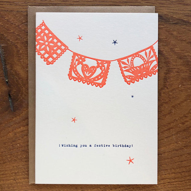 Mexican Flags Birthday Letterpress Card