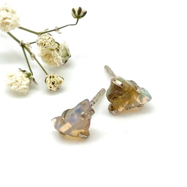 Raw Opal Sterling Stud Earring