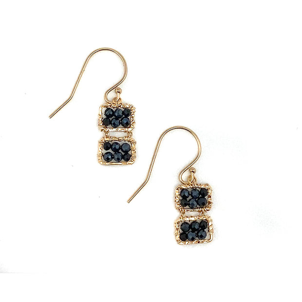Double Box Black Spinel Earring
