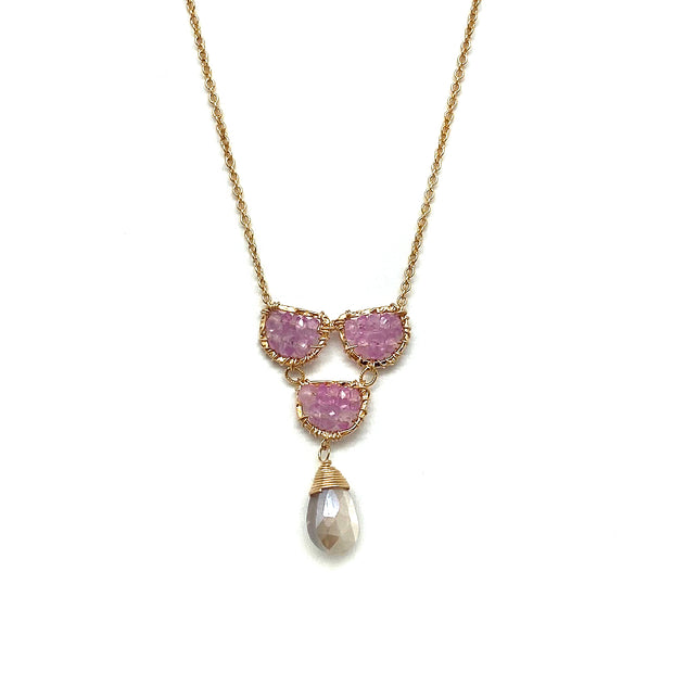 Scallop Pendant with Pink Sapphire & Coated Grey Moonstone Drop
