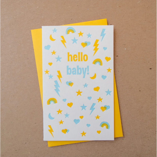 Busy Baby Blue Letterpress Card