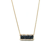 Wrapped Black Spinel Rectangle Necklace