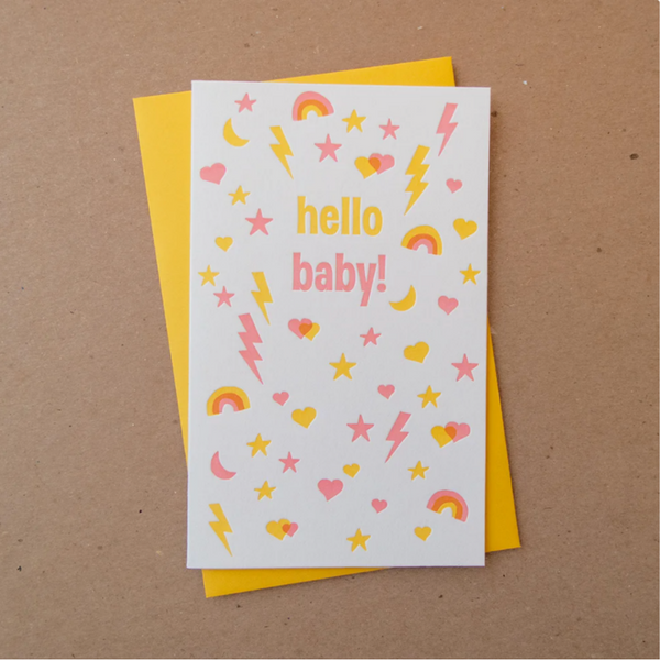 Busy Baby Pink Letterpress Card