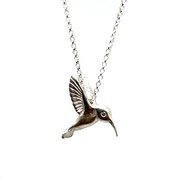Hummingbird Pendant with Diamond Eye Necklace in Sterling