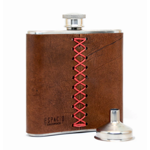 Leather Wrapped Flask - Tobacco Brown