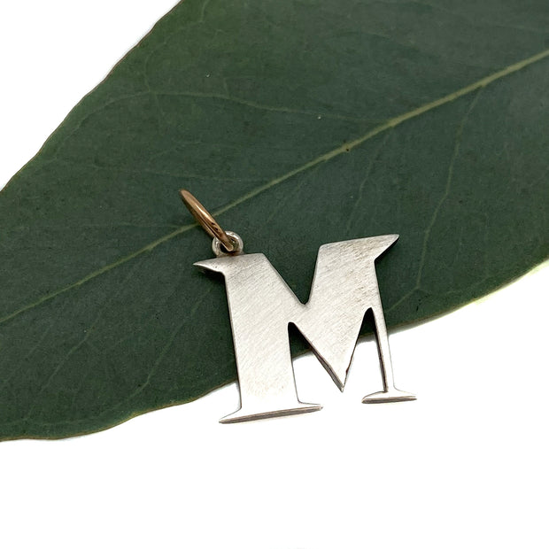 "Workhorse Sterling & 14 Karat Gold Initial Charm- ""M"""