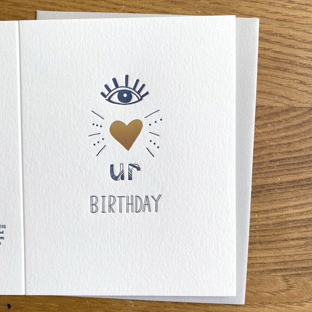 Eye Heart Ur Birthday Letterpress Card