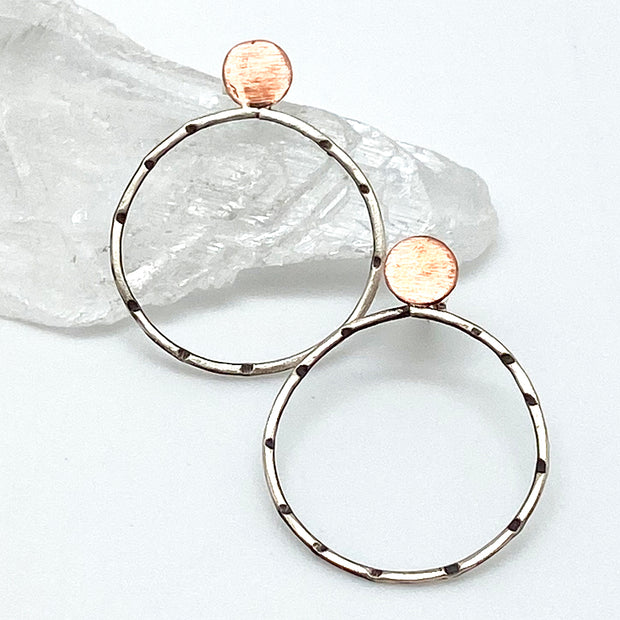 Sterling Circle Earring with Copper Stud