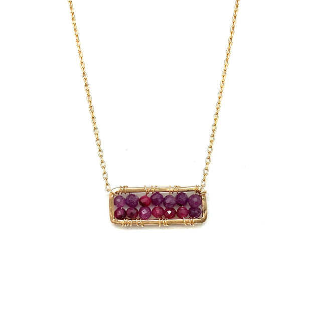 Wrapped Ruby Rectangle Necklace
