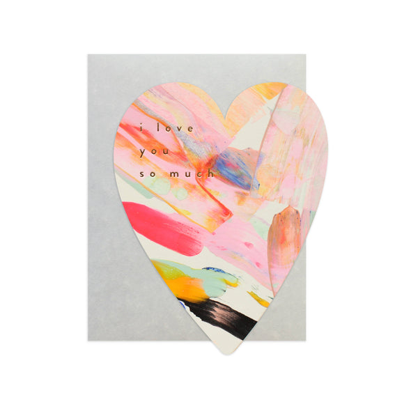 Rainbow Heart Handpainted Card by Moglea