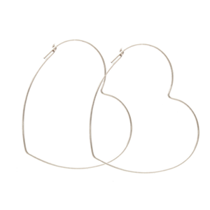 Jurate Heart Hoop Earring in Sterling