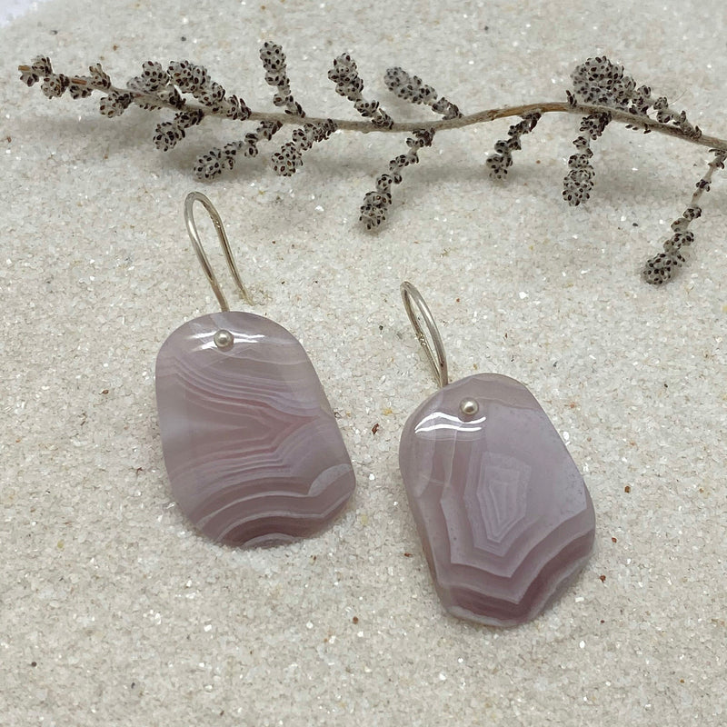 Striped Lavender Agate Earring