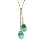 Wasabi Jewelry Lariat Necklace - Gold Filled w/Stone