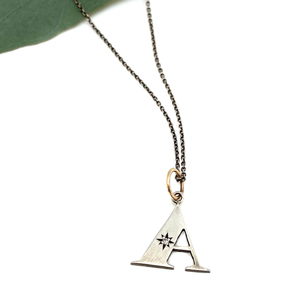 "Sterling Initial Charm with Diamond & 14 Karat Loop- ""A"""