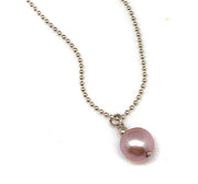 Small Pearl on Sterling Ball Chain Necklace