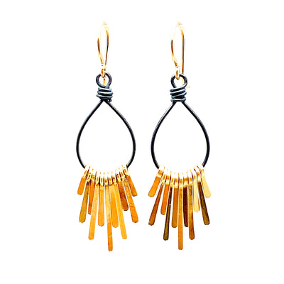 Dana Kellin Gold Filled Fringe and Oxidized Silver Earring