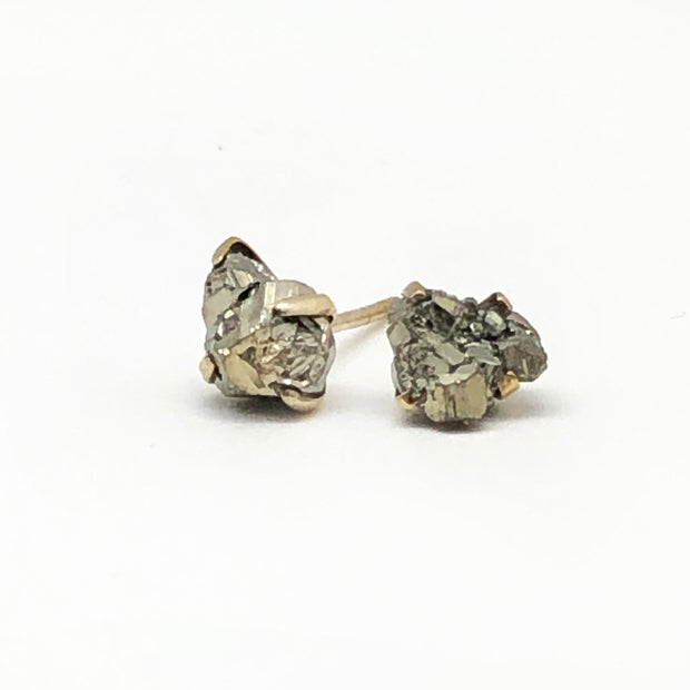 Robindira Unsworth Raw Pyrite Stud Earrings