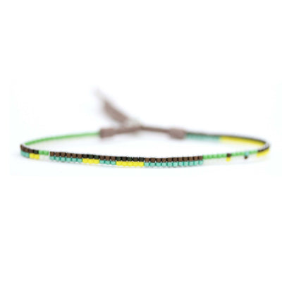 "1/8"" Woven Beaded Bracelet- Green"