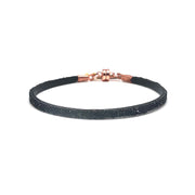 Single Thin Leather Crystal Bracelet- Black/Jet