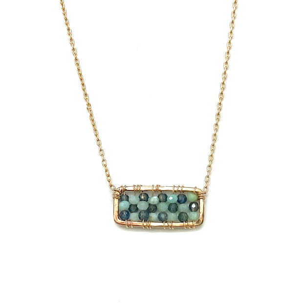 Wrapped Green Opal Mix Rectangle Necklace