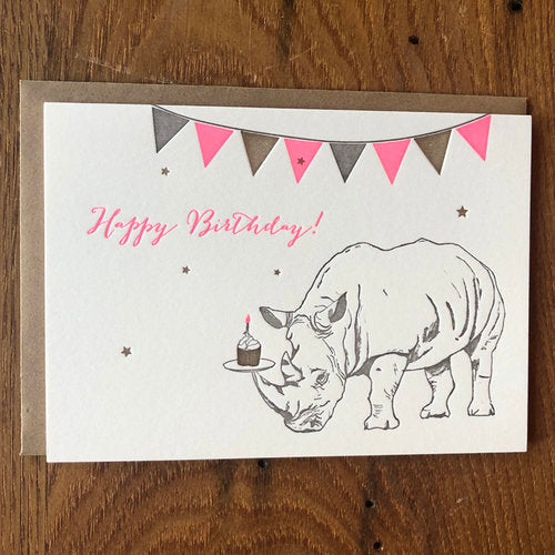 Rhino with Cupcake Birthday Letterpress Card