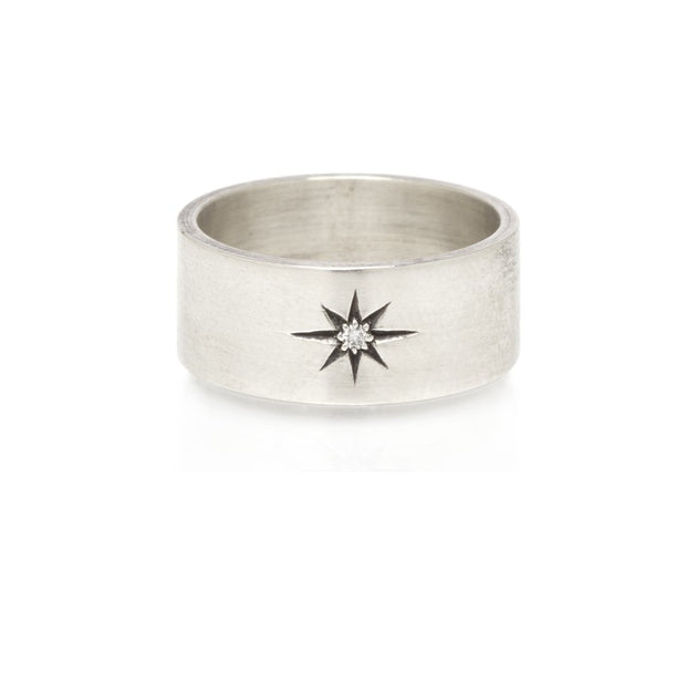 Calista Sterling Band Ring with Diamond