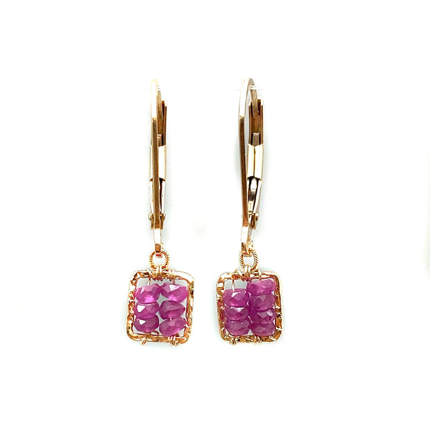 Pink Sapphire Box Earring