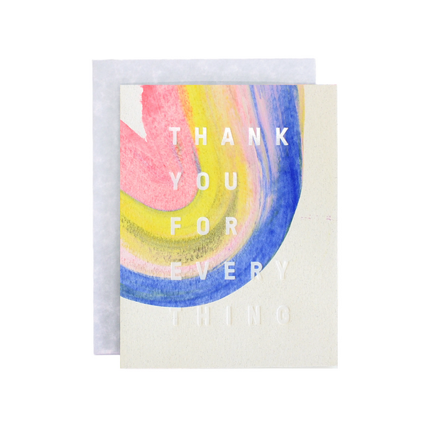 Rainbow Thank You Handpainted Card