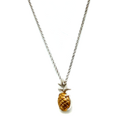 Pineapple Pendant Necklace in Sterling & Brass