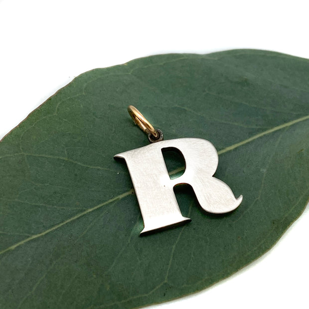 "Workhorse Sterling and 14 Karat Gold Initial Charm- ""R"""