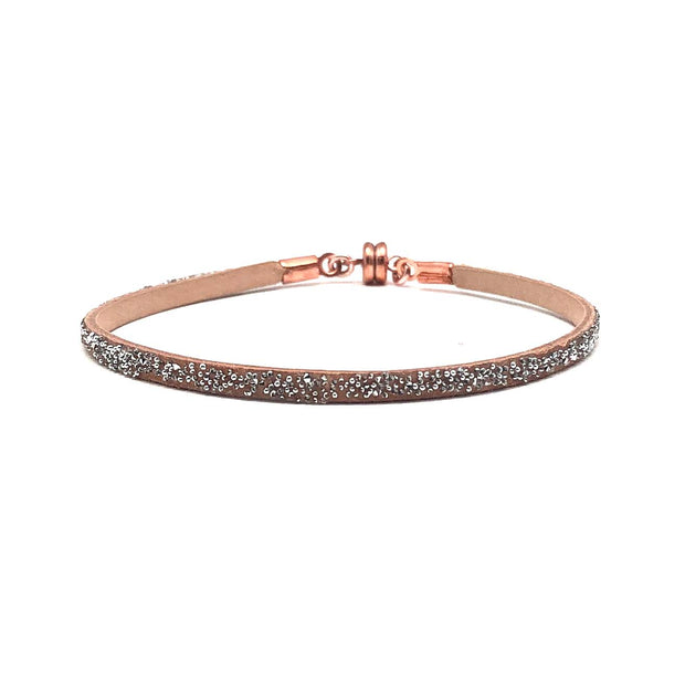 She.Rise Thin Leather Crystal Bracelet- Nude/Clear Metallic