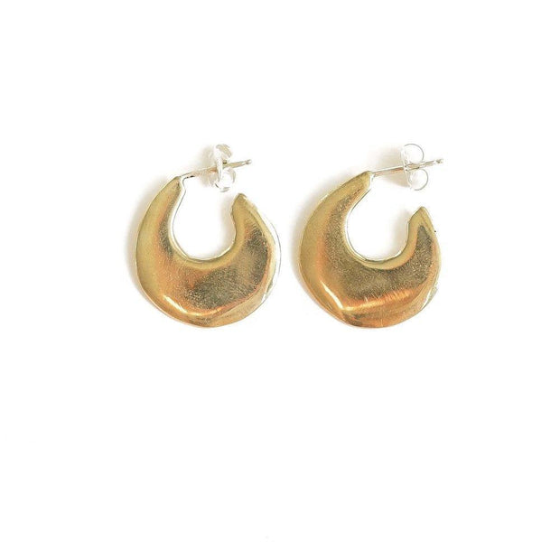 Waters Sm Flat Brass Hoop Post Earring