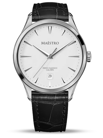 The Swiss Classico - Silver w. Black Leather