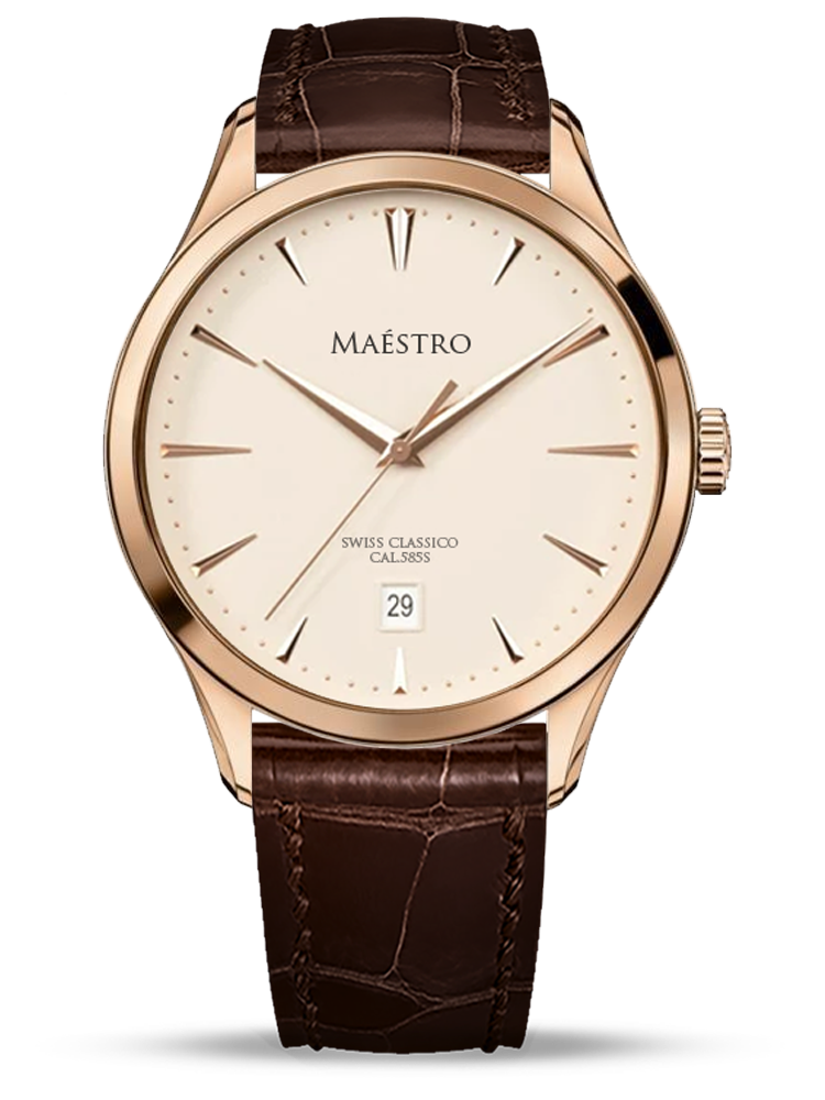 The Swiss Classico - Rose Gold w. Brown Leather