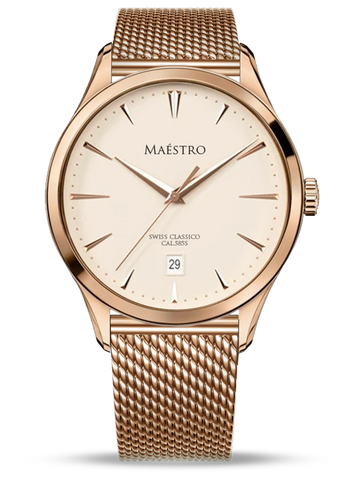 The Swiss Classico - Rose Gold Mesh
