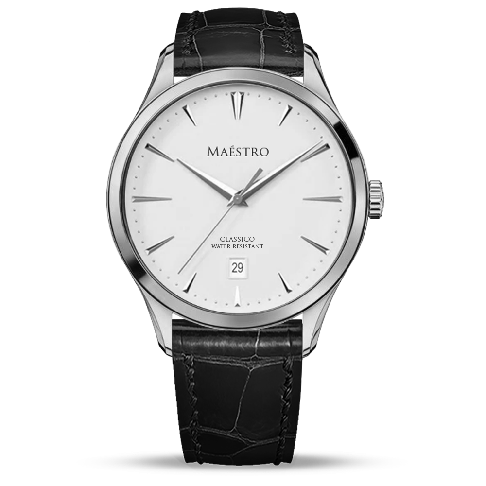 The Classico - Silver w. Black Leather