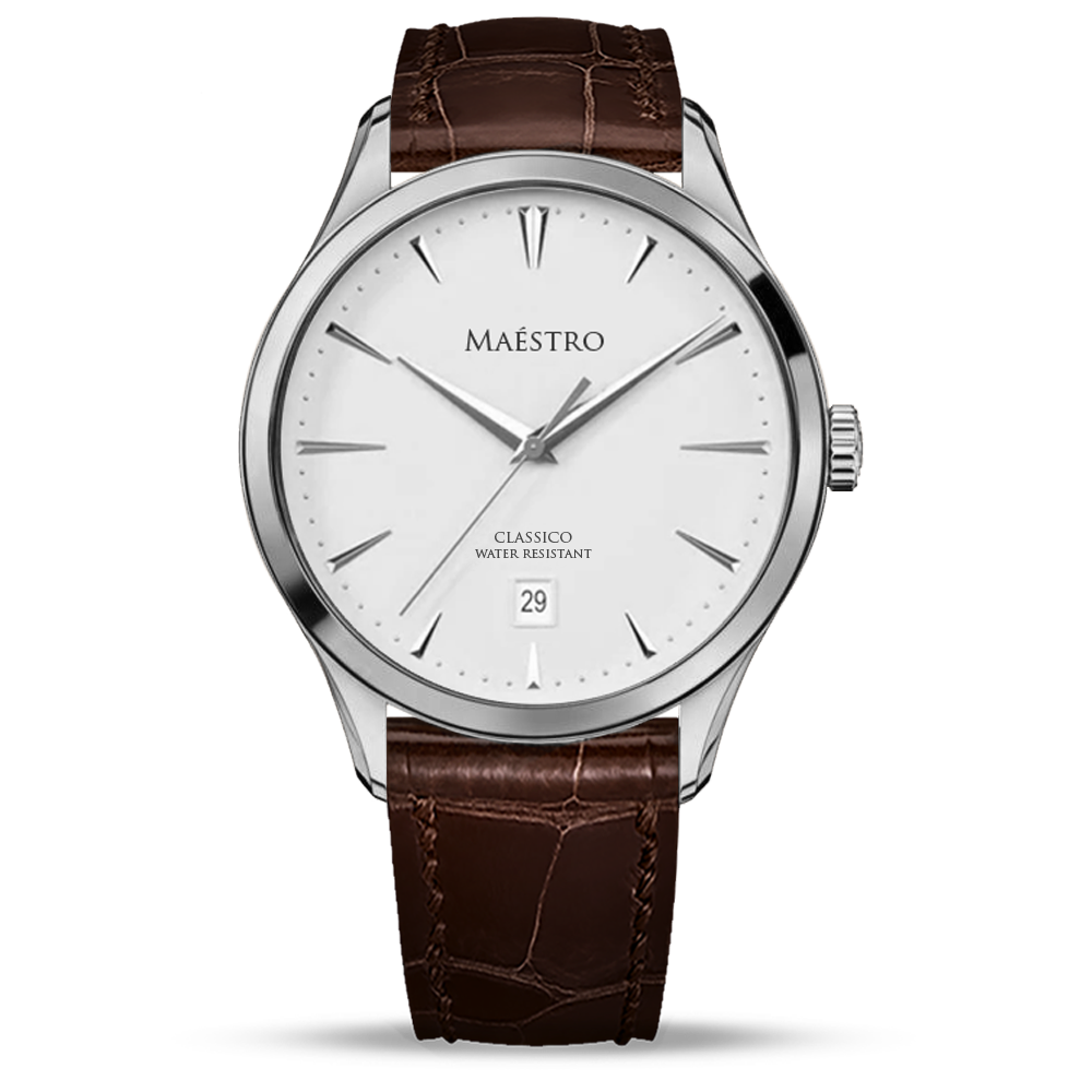 The Classico - Silver w. Brown Leather